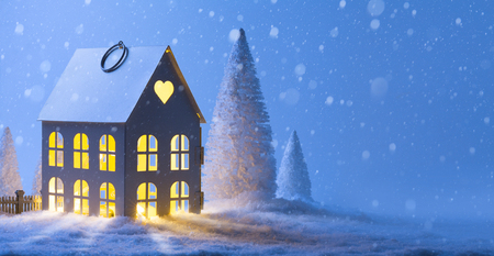 snowfall: House in snowfall. Christmas greeting card; Merry Christmas Landscape