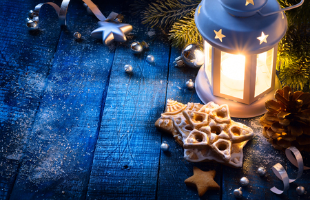 Christmas background with christmas light and festive decoration