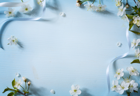 Spring flowers background with white blossom