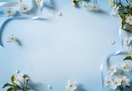 Lente bloemen achtergrond met witte bloesem Stockfoto