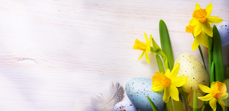 Easter Background with easter eggs and spring flowers Reklamní fotografie - 54143431