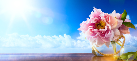 flowers in vase: Spring  background with fresh spring flowers Stock Photo