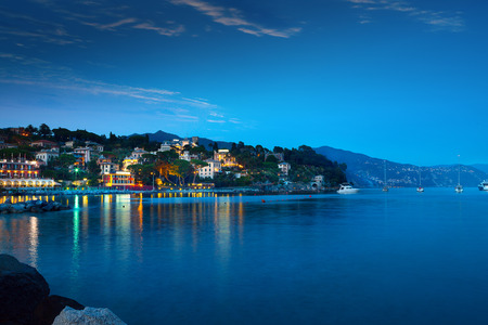 A panorama of Santa Margarita at the dusk in Liguria region, Italy, Europe