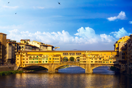 romance sky: Ponte Vecchio; romantic evening in Florence. Italy.
