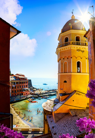 View of Romantic Seascape in Five lands, Vernazza, Cinque Terre, Liguria Italy Europe.