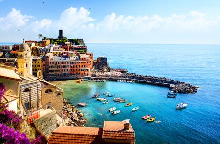 vernazza: Romantic Seascape in Five lands, Vernazza, Cinque Terre, Liguria Italy Europe.
