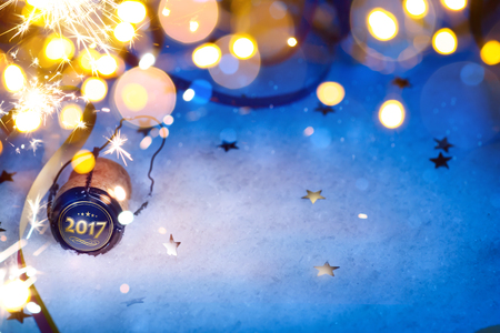 new year party: art Christmas and 2017 New year party background Stock Photo
