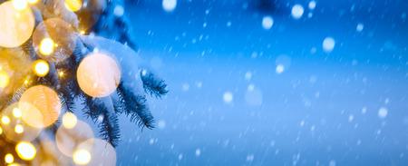 Christmas background; Blue winter Christmas Landscape