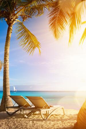 Kunst tropisch zee strand; Vakantie in het Palms Resort Stockfoto