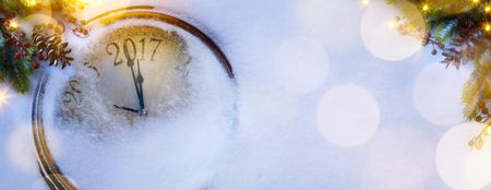 art kerstfeest en gelukkig nieuw jaar achtergrond vooravond; 2017 Stockfoto