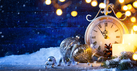Christmas or New years eve; holiday background Imagens