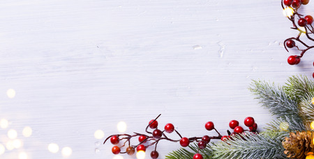 composition: Christmas holidays composition on white background with copy space for your text