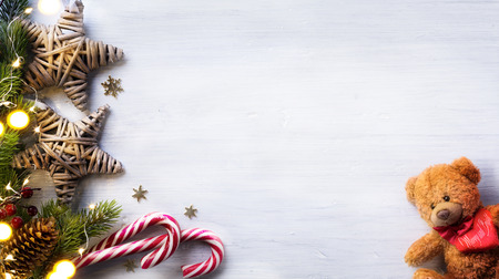 space for text: Christmas holidays composition on white wooden background with copy space for your text