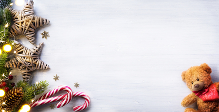 composition: Christmas holidays composition on white wooden background with copy space for your text