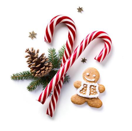 モミの木の枝と白い背景の上の休日の装飾クリスマスの組成物。フラット横たわっていた、トップ ビュー 写真素材