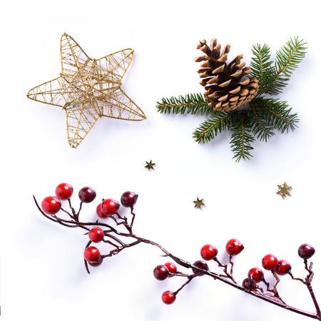 Kerst versiering op een witte achtergrond; vakantie ontwerp element