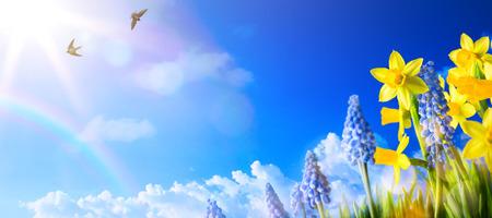 ハッピー イースター;新鮮な春の花の春風景の背景