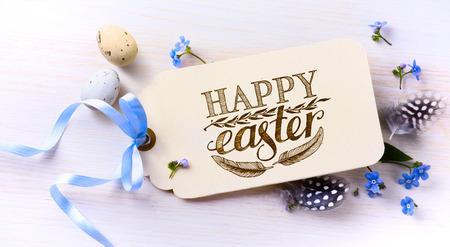 Easter card; Easter eggs and spring flovers on wood background