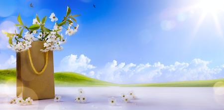 gelukkig Pasen; Lente bloemen op de lente landschap achtergrond