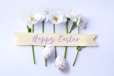 art happy Easter day; Easter egg and spring flowers   Stock Photo