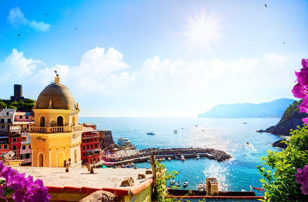 shorelines: Romantic Seascape in mediterranean Italy old town;  Five lands, Vernazza, Cinque Terre, Liguria Italy Europe.  Stock Photo