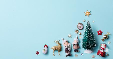 크리스마스 휴일 장식 평평한 누워; 크리스마스 카드 배경