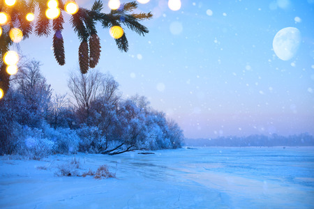 Merry christmas and happy new year: greeting background.Winter landscape with snowy christmas trees and holidays light