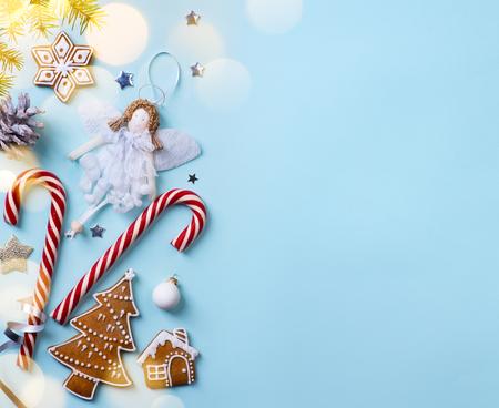 Christmas holidays ornament flat lay; Christmas card background   Zdjęcie Seryjne