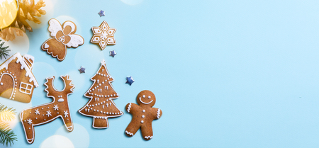 Christmas holidays ornament flat lay; Christmas card background   Stockfoto