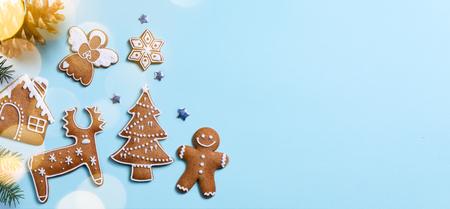 Christmas holidays ornament flat lay; Christmas card background   Archivio Fotografico