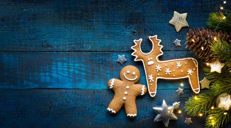Las vacaciones de Navidad adornan la endecha plana; Fondo de tarjeta de Navidad