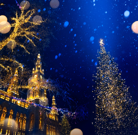 European Christmas; Christmas Tree and Old city;  Stock Photo