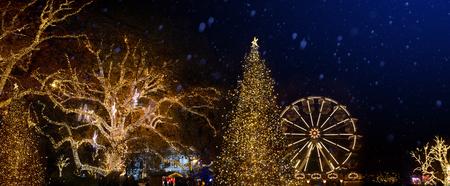 Christmas tree decoration and holidays lights on Christmas Old city street