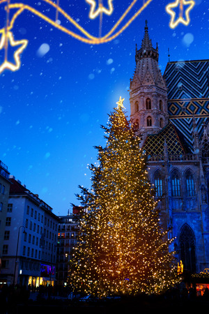 European Christmas; Christmas Tree and Old city