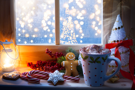 Christmas hot drink and holidays ornament; Christmas card background   Stock Photo