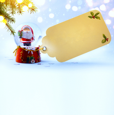 christmas decoration; holiday composition with Santa on snow background Stock Photo