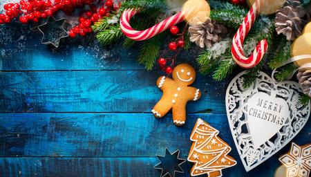 Kerstvakantie sieraad plat leggen; Kerstkaart achtergrond