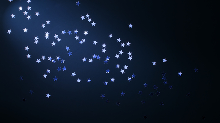 Christmas holidays background; silver stars on blue   Stock Photo