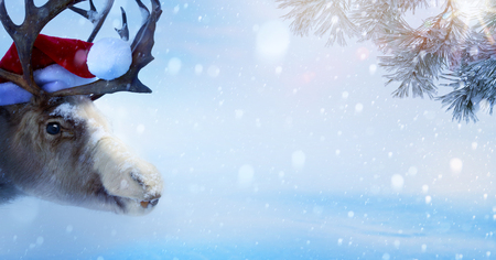 Christmas holidays background with Santa Claus deer and Christmas tree