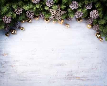 Christmas border with fir branches and pine cones Stock Photo