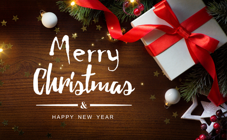 merry Christmas and happy New year background; Christmas tree and holiday gift