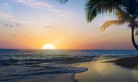 Art Beautiful sunset over the tropical beach Banque d'images