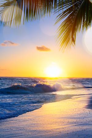 Beautiful sunset over the tropical beach Reklamní fotografie