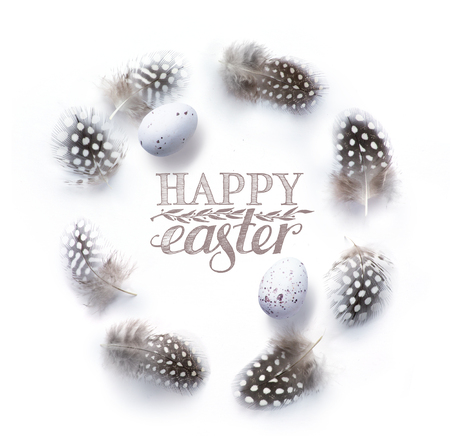 Easter background with Easter decoration on white table   Stock Photo
