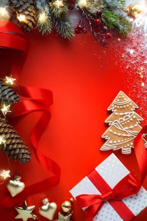 Christmas greeting card background;  Christmas Gift and  Christmas tree Ornament On Table