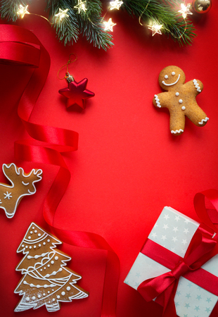 Christmas tree light and holidays decoration; Christmas holidays flat lay background Reklamní fotografie