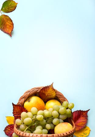 Thanksgiving concept; autumn leaves and Fruit basket with fresh autumn Fruit Reklamní fotografie