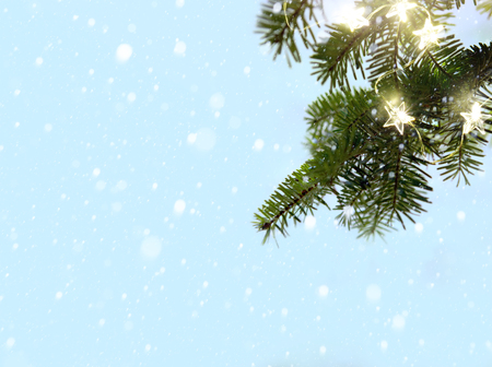 Merry Christmas - snow and fir tree branches with holidays lights Reklamní fotografie