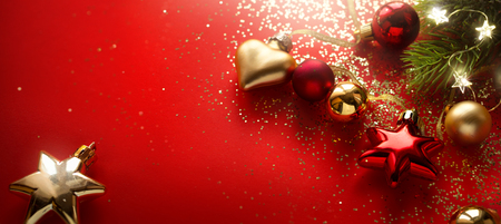 Christmas holidays composition on red background with copy space Reklamní fotografie