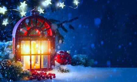 Christmas midnight Light; holidays background with Christmas decoration and Christmas Tree light Reklamní fotografie